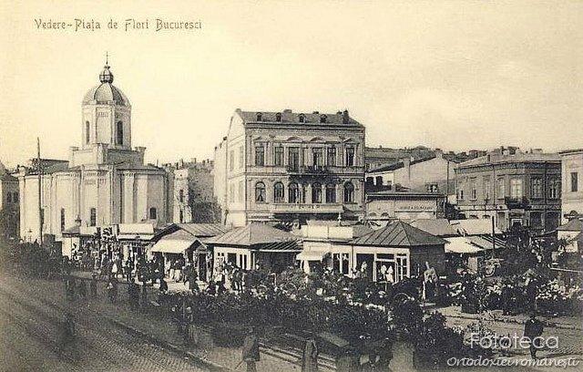 Curtea veche - Sf. Anton şi Piaţa de flori la 1900